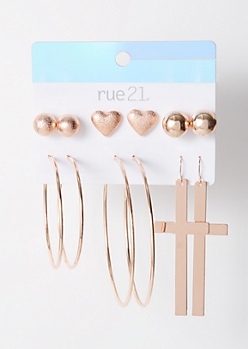 6-Pack Rose Gold Pearl Cross Earring Set