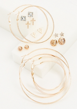 9-Pack Rose Gold Triangle & Cross Stud & Hoop Earring Set
