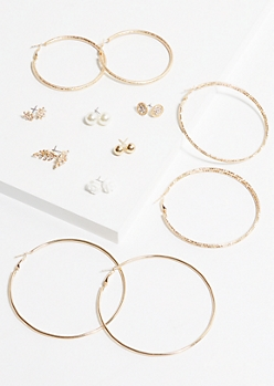 9-Pack Gold Leaf Earring Set
