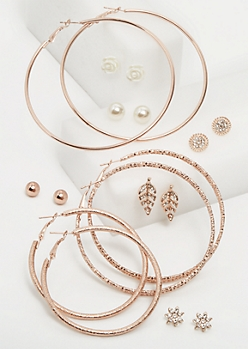 9-Pack Rose Gold Pearl & Flower Studs & Hoop Earrings