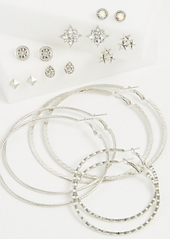 9-Pack Silver Star Stud & Hoop Earring Set