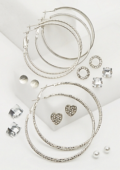9-Pack Silver Cube & Heart Studs & Hoop Earrings