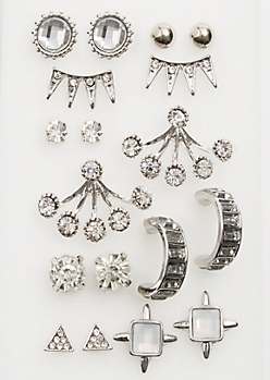9-Pack Silver Rhinestone Ear Crawler Stud Earrings