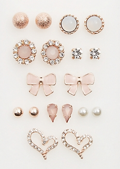 9-Pack Rose Gold Bows & Hearts Stud Earrings