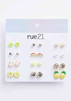 12-Pack Gold Rainbow Pineapple Stud Earring Set