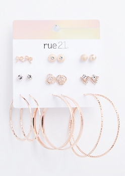 9-Pack Rose Gold Gemstone Rose Earring Set