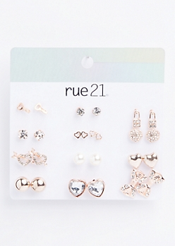 12-Pack Rose Gold Lock & Key Stud Earring Set
