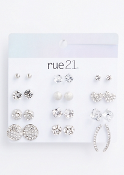 12-Pack Silver Disco Ball Stud Earring Set