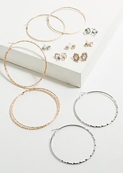 9-Pack Mix Metal Gemstone Crown Earring Set