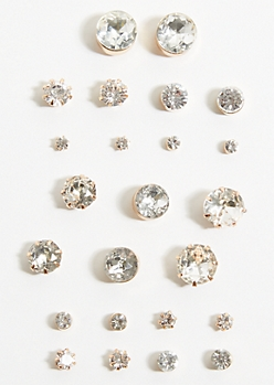 12-Pack Gold Faux Diamond Earring Set