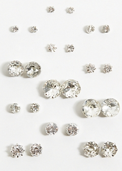 12-Pack Silver Faux Diamond Earring Set