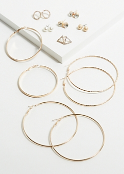 9-Pack Gold Geometric Gem Earring Set