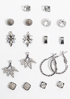 9-Pack Pewter Gemstone Stud Earring Set