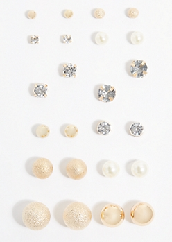 12-Pack Gold Round Stud Earring Set