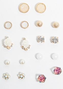 9-Pack Geo Gem Rose Earring Set
