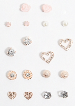 9-Pack Pink Heart Stud Earring Set