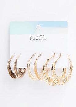3-Pack Gold Geometric Hoop Earring Set