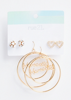 3-Pack Gold Mamacita Assorted Earring Set