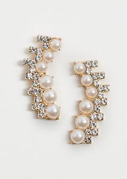 Pearly Stone Crawler Earrings