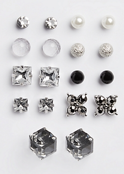 9-Pack Antique Stone Stud Earring Set