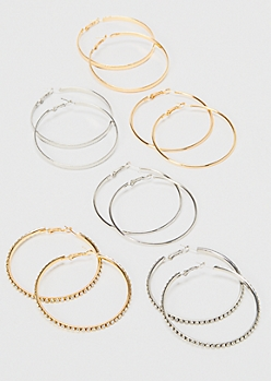 6-Pack Mixed Metal Skinny Hoop Earrings