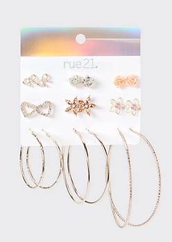 9-Pack Rose Gold Rose Earring Set