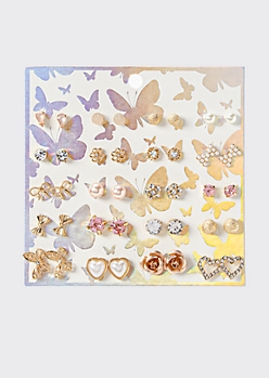 20-Pack Gold Butterfly Earring Set