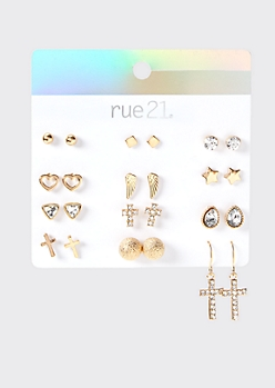 12-Pack Gold Cross Earring Set