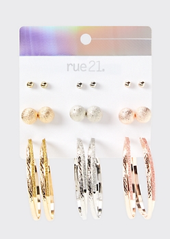 9-Pack Mixed Metal Glitter Earring Set