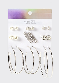 9-Pack Silver Honey Earring Set