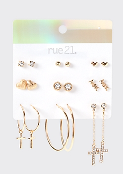 9-Pack Gold Angel Earring Set