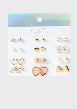12-Pack Gold Locket Earring Set