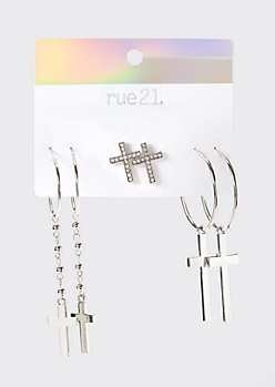 3-Pack Silver Cross Earring Set