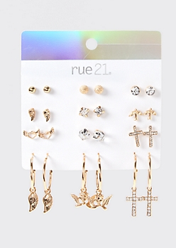 9-Pack Gold Cherub Earring Set