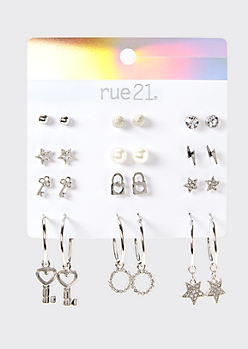 12-Pack Silver Key Earring Set