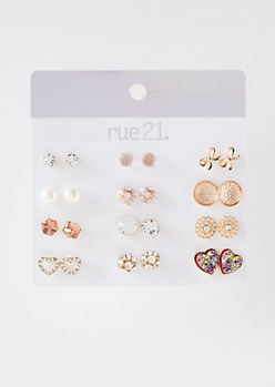 12-Pack Gold Druzy Heart Stud Earring Set