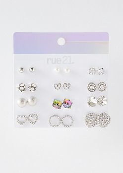 12-Pack Silver Iridescent Circle Stud Earring Set