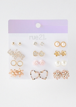12-Pack Gold Gem Love Stud Earring Set