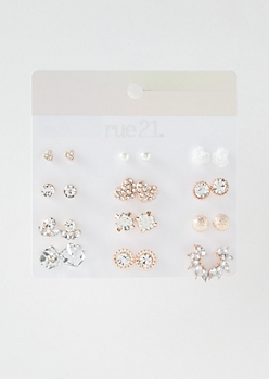 12-Pack Rose Gold Decorate Ear Crawler Earring Set