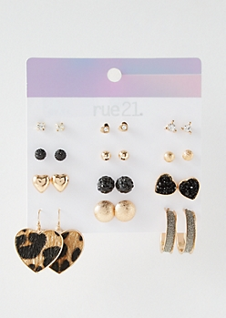 12-Pack Gold Druzy Leopard Print Earring Set