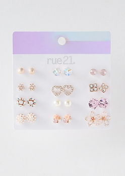 12-Pack Rose Gold Iridescent Stud Earring Set