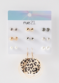 9-Pack Gold Leopard Pearl Earring Set