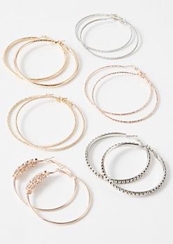 6-Pack Mixed Metal Gemstone Cluster Hoop Earring Set