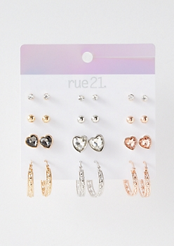 12-Pack Mixed Metal Heart Hoop Earring Set