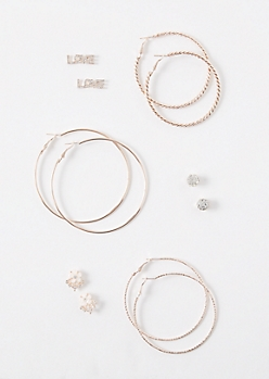 6-Pack Rose Gold Love Flower Earring Set