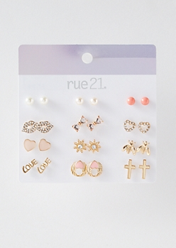 12-Pack Gold Bee Stud Earring Set