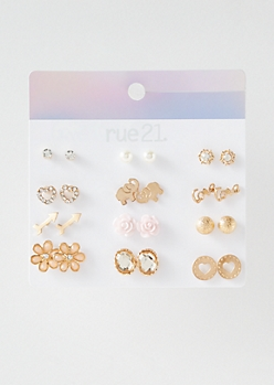12-Pack Gold Love Elephant Stud Earring Set
