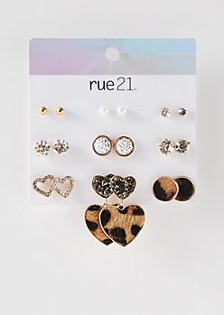 9-Pack Gold Leopard Print Earring Set
