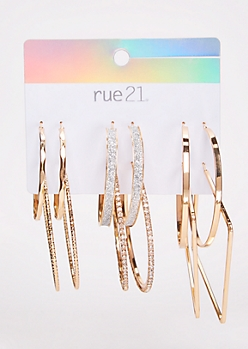 6-Pack Gold Sparkly Hoop Earring Set