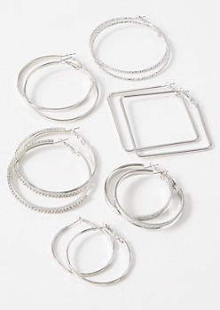 6-Pack Silver Sparkly Hoop Earring Set